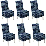 XXT Dining Room Chair Covers Slipcovers Set of 6,Stretch Spandex Fabric Anti-dust Seat Slipcover Fit Stretch Removable Washable Kitchen Chair Covers Protectors for Home, Kitchen, Party (Dark Blue)