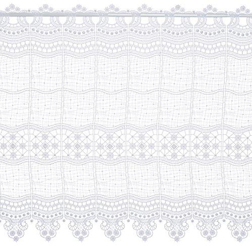 Plauener Spitze by Modespitze, Store Bistro Gardine Scheibengardine mit Stangendurchzug, hochwertige Stickerei, Höhe 58 cm, Breite 144 cm, Weiß