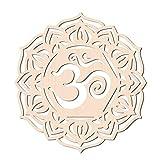 GLOBLELAND 31CM Om Lotus in Legno Wall Art Crystal Grid Geometria Sacra Home Decor, Scultura da Parete in Legno Tagliata al Laser per Decorazioni da Appendere A Parete