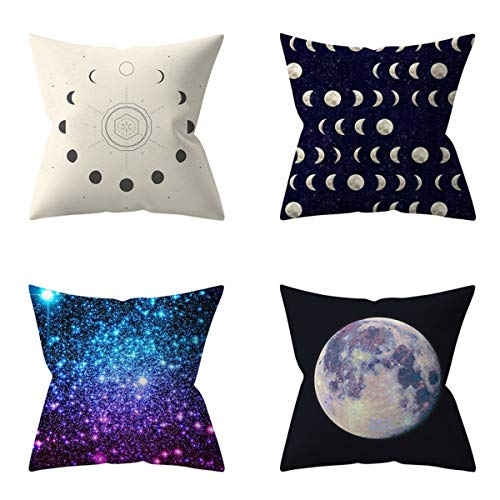 HOUZII Cushion Covers Soft Decorative Square Throw Pillow Cases Milky Way Design For Livingroom with Invisible Zipper 17x17 Inches, 45cmx45cm, Pack of 4