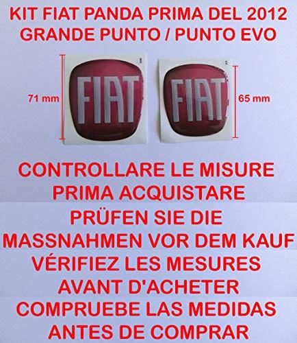 GTBTUNING Panda Rosso Kit Adesivo Stickers Logo Stemma Badge Nuova Fiat Panda (Prima del 2012) 4 X 4 Punto Evo MYLIFE Street Anteriore + Posteriore RESINATO Effetto 3D Adesivo 3M Cofano Baule