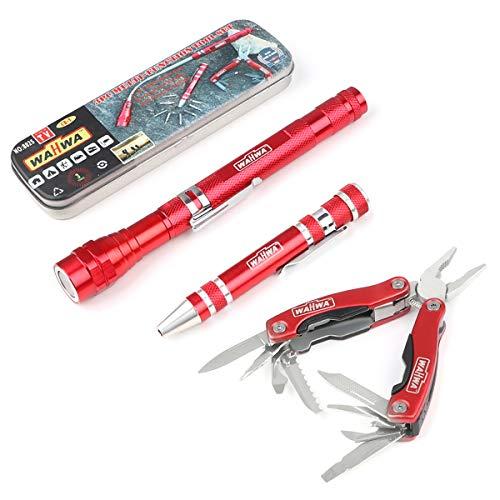 Makerfire Outdoor Survival Kits, 3 in 1 Mehrzweck-Tool-Kits Camping-Notfallausrüstung mit 11 in 1 Multitool-Zangen 8 in 1 Schraubendreher Ausziehbare Taschenlampe