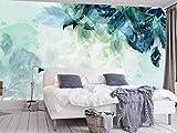 Papier Peint 3D Plumes Bleues Simples Peintes À La Main Papier Peint Panoramique Intissé Murales Moderne Decoration Murale