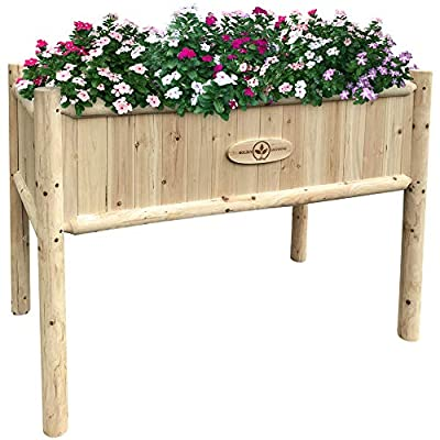 Boldly Growing Wooden Raised Planter Box with Legs - Large Elevated Outdoor Patio Cedar Garden Bed Kit to Grow Herbs and Vegetables - Unmatched Strength Lasts Years, Natural Rot-Resistant Wood