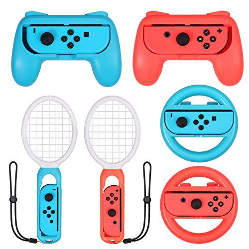 eSynic 3 in 1 Flying Grips Tennisschläger für Switch Joy-Controller Kit Zubehör mit 2 Controller Gehäuse 2 Tennisschläger 2 Lenkrad für Mario Tennis Aces Game