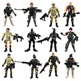 JOELELI 12 Pieces Soldier Action Figures Toy Army Men with Weapon Accessories, SWAT Team Military Figures Playsets for Boys Girls
