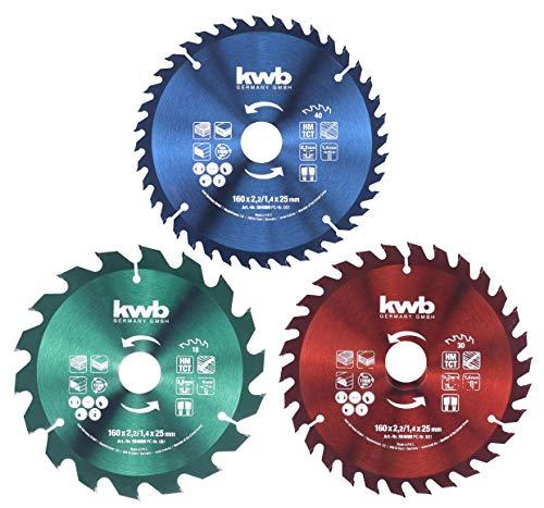 KWB 49584699 - Juego de hojas de sierra circular (160 x 25 / 20 / 16 mm para sierras circulares de mano)