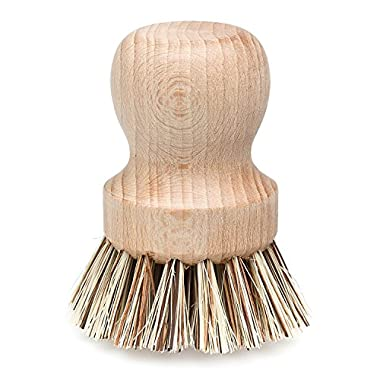 REDECKER Natural Fiber Bristle Pot Brush, Comfortable Beechwood Handle, Durable Heat-resistant Design for cleaning Pots, Pans and More, 2-1/4  Diameter, Made in Germany