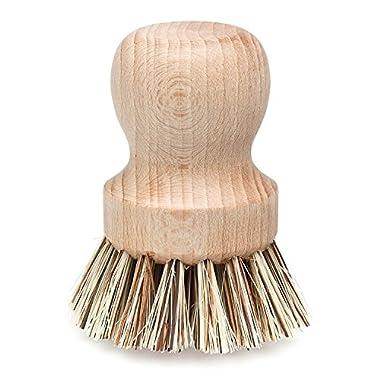 Redecker 2-1/4 Inch Diameter Natural Fiber Bristle Pot Brush, Set of 1
