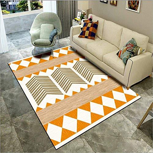 showyow Alfombra moderna antideslizante para sala de estar, lavable, triángulo geométrico multicolor, 160 x 230 cm