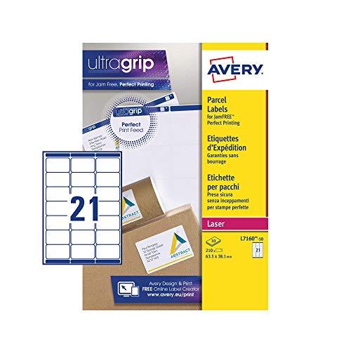 Avery Self Adhesive Address Mailing Labels, Laser Printers, 21 Labels Per A4 Sheet, 210 Labels, UltraGrip (L7160)