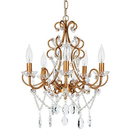 Amalfi Decor 5 Light LED Crystal Beaded Chandelier, Mini Wrought Iron K9 Glass Pendant Light Fixture Vintage Nursery Kids Room Dimmable Plug in Hanging Ceiling Lamp, Gold