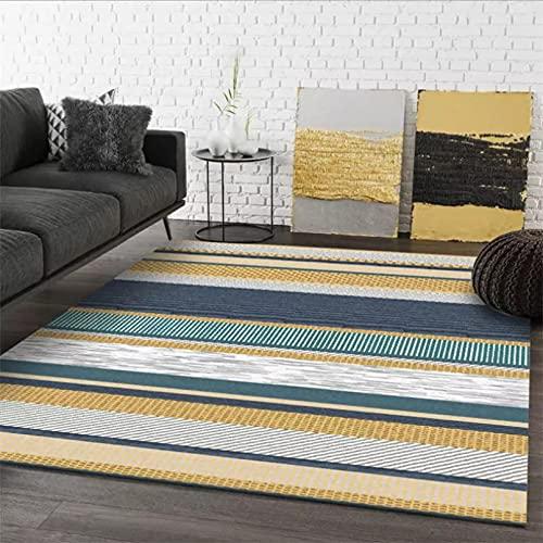 Alfombra de sala de estar a cuadros amarillos patrón de rayas alfombra antideslizante para sala de estar hogar dormitorio decoración decoración dormitorio hogar
