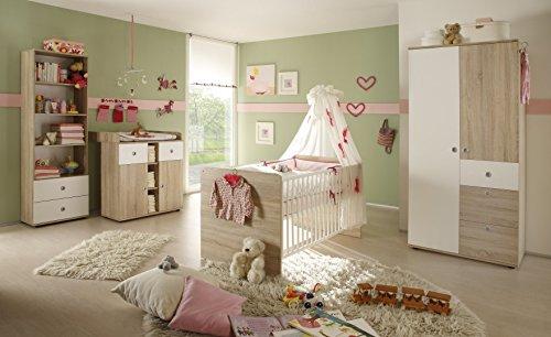Habitación de bebé Lasse completa de roble sonoma, color blanco