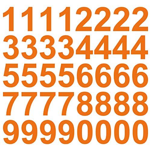 kleb-drauf | 40 Zahlen, Höhe je 10 cm | Orange - glänzend | Wandtattoo Wandaufkleber Wandsticker Aufkleber Sticker | Wohnzimmer Schlafzimmer Kinderzimmer Küche Bad | Deko Wände Glas Fenster Tür Fliese