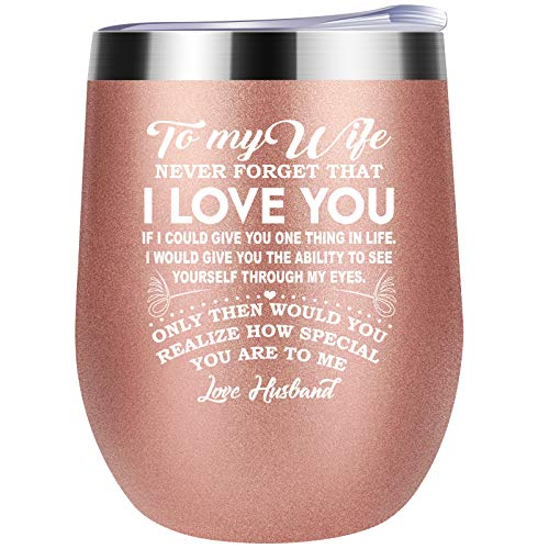 Wine Tumbler Gifts for Wife from Husband for Wedding Anniversary, Birthday, Valentines or Mothers Day - Insulated with Lid Double Wall Stainless Steel Stemless Wine Glasses Coffee Mug Rose Gold 12oz