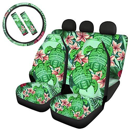 JOAIFO Hawaiian Green Tattoo Sea Turtle Plumeria Print Non Slip 4 Pcs Car Seat Covers + 2 Pack Seat Belt Protector + 1 Pack Steering Wheel Cover,Stylish Accessories for Women Men