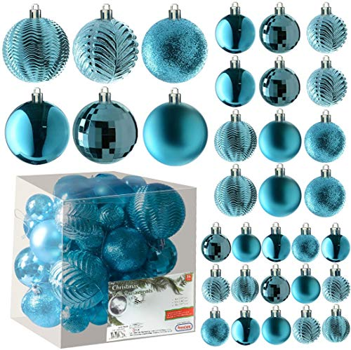 Acid Blue Christmas Ball Ornaments for Christams Decorations - 36 Pieces Xmas Tree Shatterproof Ornaments with Hanging Loop for Holiday and Party Deocation (Combo of 6 Styles in 3 Sizes)