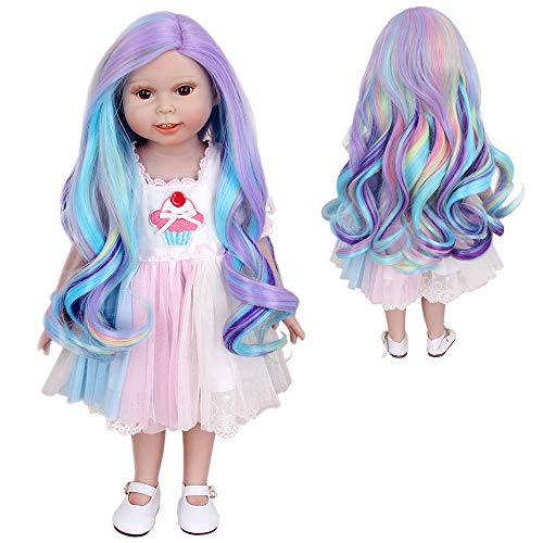 H&Bwig Doll Wigs for 18 inch Dolls Long Curl Wave Wig Middle Part with a Cute Clip Wig Girl Gift DIY Hairstyle by Yourself (Blue Pink)