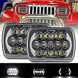VOSICKY(ボスキー) 新製品 5X7 インチ 85W ジープ YJ ラングラー/XJ チェロキー/MJ Comanche/Jeep Grand Wagoneer LED ヘッドライト 角型 2 灯式 角型 4 灯式 ヘッドライト矩形 方形 ヘッドライト 自動車用 Hi/Lo切替型 イカリング 作業灯 プロジェクター 2個セット(ブラック) 一年保証付き