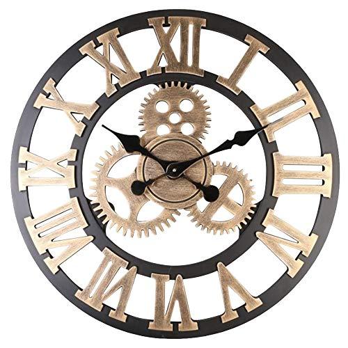 Warmiehomy 58cm Grande Orologio da parete , orologio da appendere industriale con Numeri Romani vintage, 3D Gear,silenzioso, per casa, ufficio, ristorante, hotel, caffetteria, decorazione, oro
