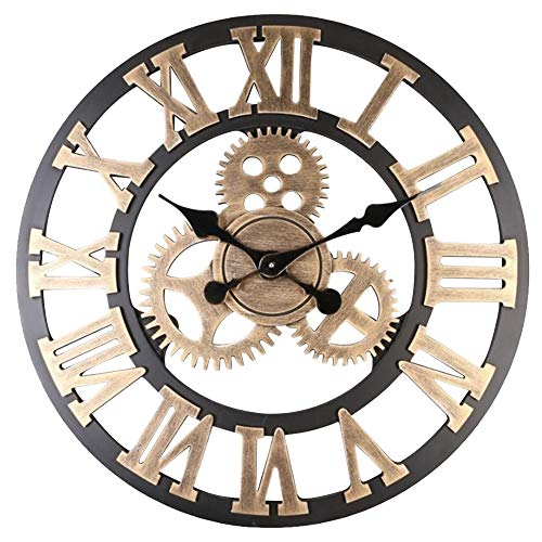Warmiehomy 58cm Large Wall Clock, 3D Gear Vintage Industrial Silent Roman Numeral Hanging Clock for Home, Office, Cafe Decoration, Gold