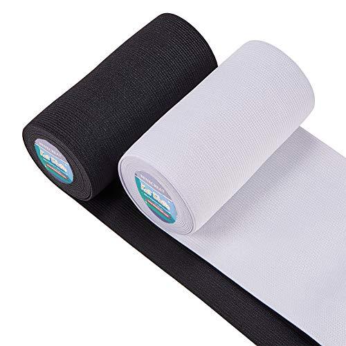 BENECREAT 2 Rollos Banda Elástica 120mm de Ancho Nergro y Blanco Estiramiento Pesado Tejido de Alta Elasticidad para Coser (sobre 2.7m / Rollo)