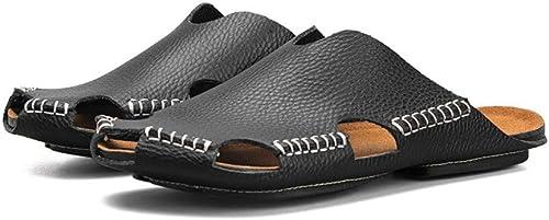 GJLIANGXIE Sandales pour Hommes été Nouveaux Nouveaux Hommes Sandales Hommes en Cuir Demi-Pantoufles Chaussures De Plage Chaussures De Sport Sandales Hommes Occasionnels Marée  garantie de crédit