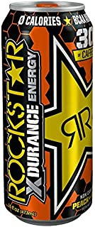 Rockstar Xdurance Energy Drink, Peach Iced Tea, Non Carbonated, 16fl.oz (Pack of 8)