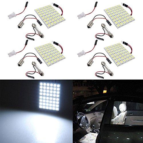 TABEN Lot de 4 panneaux LED super blancs de 3e génération 5050-48SMD à économie d'énergie pour éclairage intérieur de voiture avec adaptateurs T10/BA9S/navette (DC-12 V)