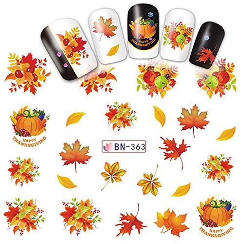 Junlian Mélange Automne Nail Autocollant Eau Decal Jour De Thanksgiving Or Jaune Feuille Turquie Filigrane Curseur Manucure Décor Conseils Nail Sticker