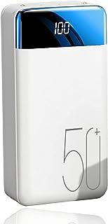Power Bank 50000mAh, snabb laddning Externt batteri med 3 ingångar (Micro + USB C + Lightning) och 2.1a 3 USB LED-ficklamp...