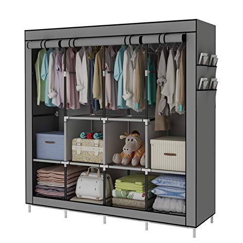 ACCSTORE Tragbare Garderobe Kleidung Garderobe Regale Kleidung Lagerung Organizer Mit 4 Kleiderstangen,Grau