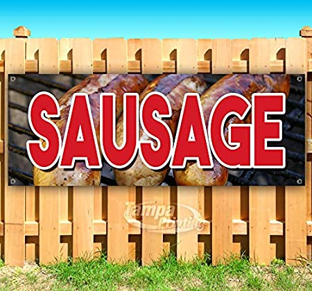 New Advertising Flag, Store Sausage 13 oz Heavy Duty Vinyl Banner Sign with Metal Grommets Many Sizes Available