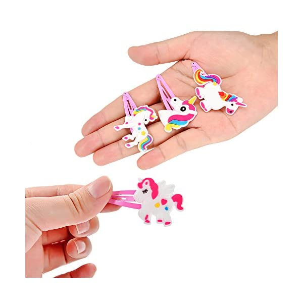BBTO 22 Pieces Unicorn Pattern Hair Clips 1.57 inch Anti-slip Snap Hair Clips Barrettes Hairpins for Baby Girls Unicorn Party Supplies 6