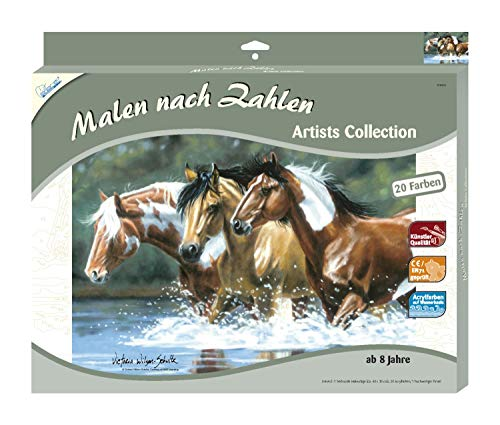 Mammut 108007 Schilderen op nummer, Collection-Tiger, ca. 40 x 30 cm. Paarden 40 x 30 cm gekleurd