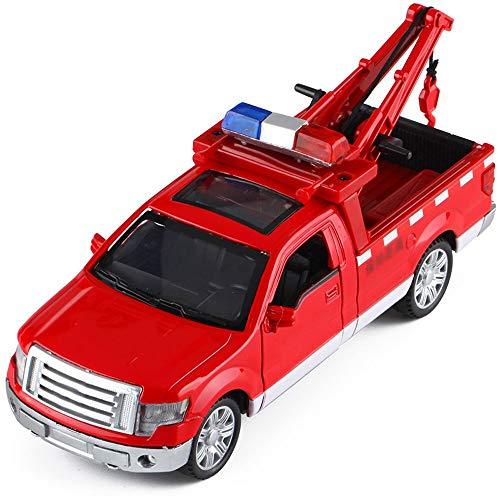 Xolye Legierung Pickup Truck-Rettung Auto-Modell Can Open Door Ton und Licht Klein-LKW-Spielzeug 2 Farben Simulation Verkehr Rettung Auto Abschleppen Kran Kinderspielzeugauto Metall zieht Jungen-Spiel