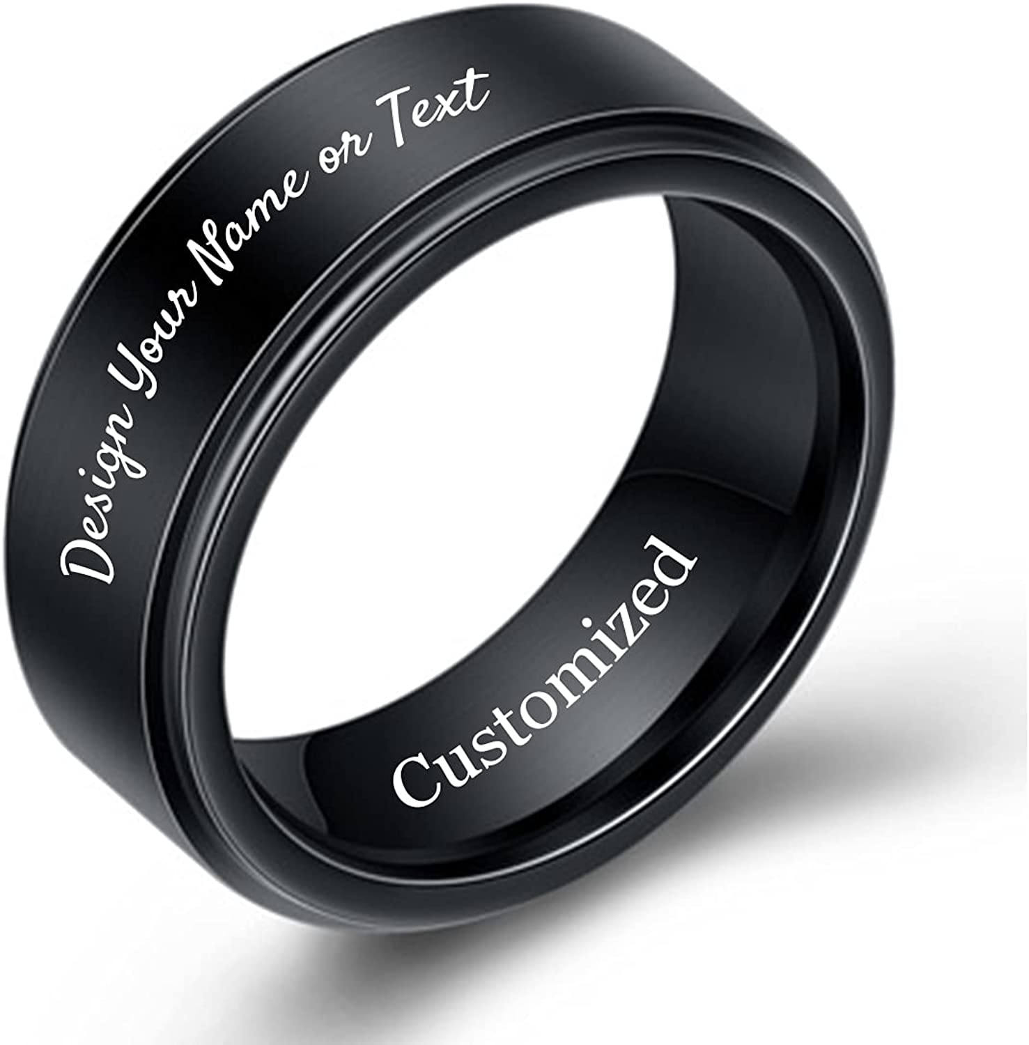 YUOTO Personalized Promise Tungsten Carbide Ring for Men Engraved His Name,Customizable Black Wedding/Engagement Rings for Women,Customized Simple Chunky Masculine/Male/Mens/Boys Rings Comfort Fit