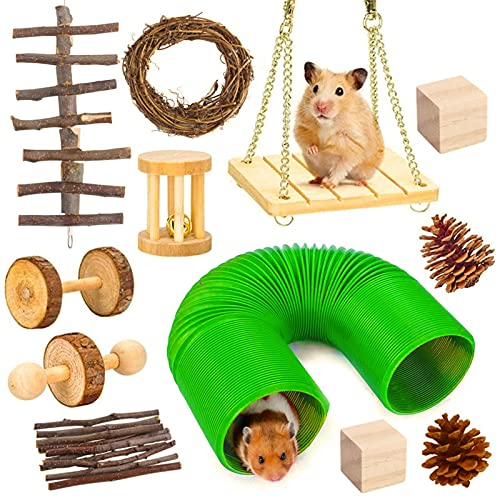 A/O Hamster Chew Juguetes Accesorios, Pet Natural Wooden 12 unids Gerbil Guinea Pig Chinchilla Ejercicio Mancuernas Accesorios, Túnel de Rodillos Dientes Cuidado Molar Juguete para Hamster Guinea Pig