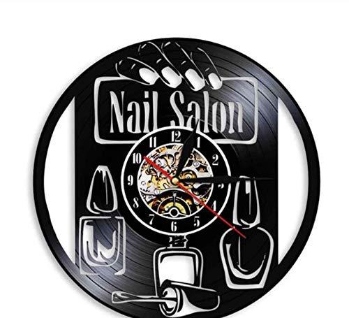 Msbvf Reloj de Pared de viniloNail Art Wall Reloj de Pared Tienda de Belleza Esmalte de uñas Disco de Vinilo Reloj Decoración - 30cm