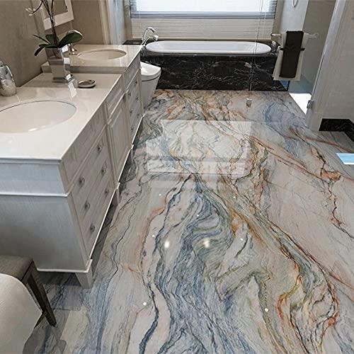 Papel pintado autoadhesivo impermeable de PVC 3D Azulejos de suelo de mármol Murales Baño Papel de pared antideslizante Pisos 3D Decoración para el hogar Pegatinas-300x210cm