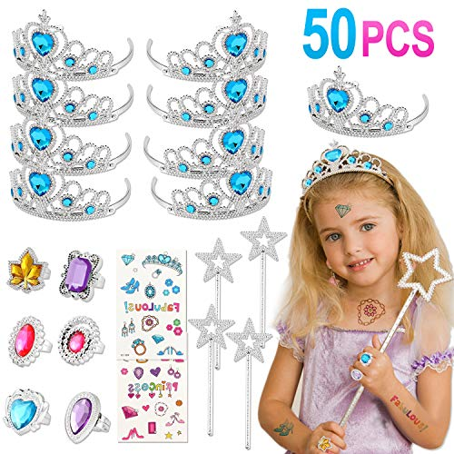 Tacobear 50 Piezas Disfraz Princesa Niña con Tiara Princesa Corona Princesa Tatuajes...