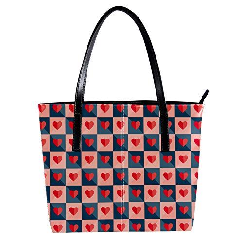 LORVIES Mosaik mit Herzen aus Papier, Umhängetasche aus PU-Leder und Handtaschen für Damen