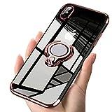 Fulidy Coque iPhone X, Coque iPhone XR, Coque iPhone XS Max, Slim Fit TPU avec Support de BagueSilicone Gel Anti Mince Placage Bumper Housse Lustre Métal 360° Bague Support Téléphone Voiture Etui