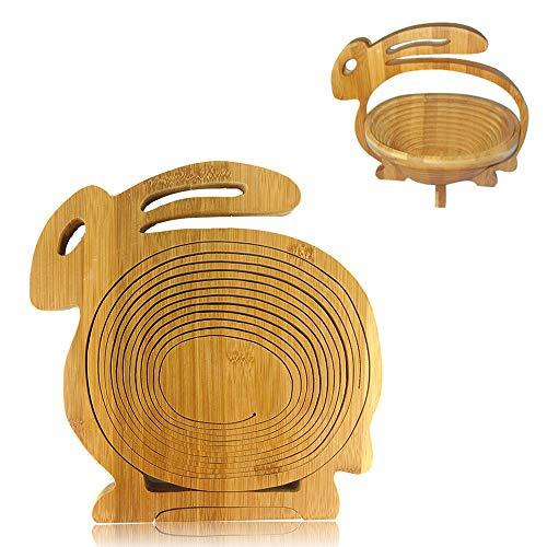 Ldawy Frutero Cesta de Fruta Plegable Elefante/pez/Conejo/Caracoles Cesta de Fruta Plegable Cesta de bambú para Regalo para el hogar, marrón Natural