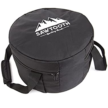 Sawtooth Dutch Oven Tote Bag for Camping 12  (3 Sizes Available) – Thick 600D Polyester, Comfortable Design Carry Straps & Velcro Handle – Foam Padding For Maximum Protection & Storage