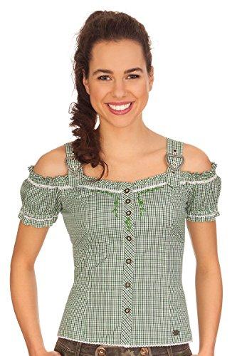 Spieth & Wensky Trachten Bluse im Carmenstil - GALANTA - Aqua, grün, Größe 32