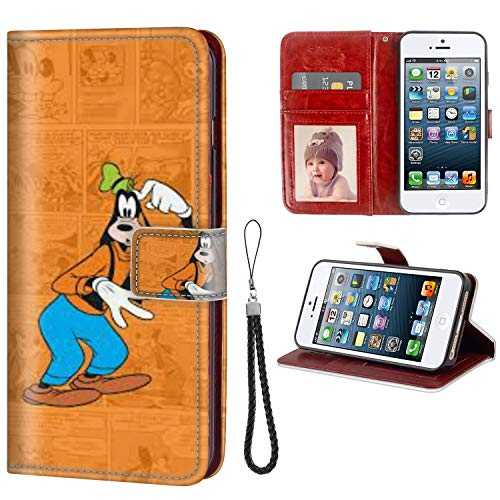 DISNEY COLLECTION Wallet Case for iPhone 5C, High-Grade PU Leather Flip Phone Case with Card Holder and Wristband Protective Cover — Clubhouse Wallpaper Tvshow Comics Cute Goofy 360 Protection
