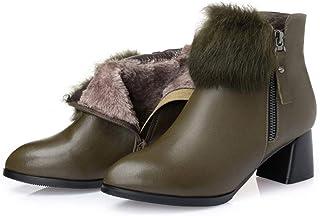 女性のレザーブーツ、女性の冬のブーツぬいぐるみコットンブーツ厚手のベアブーツブーティー大サイズレディースシューズ (色 : A, サイズ : 39)