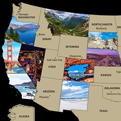 Scratch off Map United States of America Travel Poster 17 x 24 Wall Art Decor Photos of National Parks and other Iconic locations Includes State Flags...